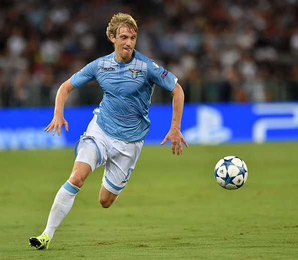 ROME, ITALY - AUGUST 18:  Dusan Basta of SS Lazio  in action during the UEFA Champions League qualifying round play off first leg match between SS Lazio and Bayer Leverkusen at Olimpico Stadium on August 18, 2015 in Rome, Italy.  (Photo by Giuseppe Bellini/Getty Images)
