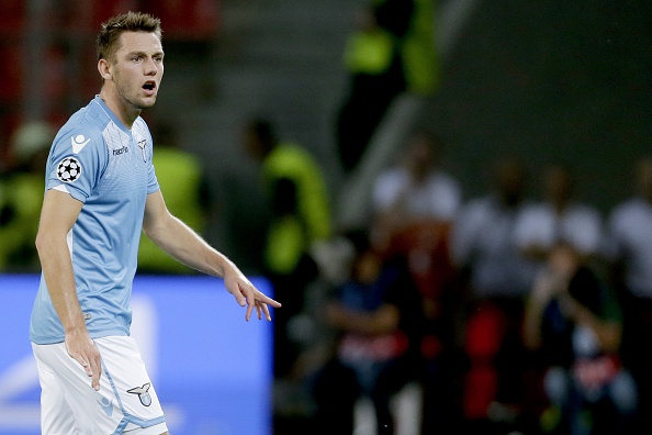 Stefan de Vrij of SS Lazio Roma during the UEFA Champions League play-offs match between Bayer Leverkusen and Lazio Roma on August 26, 2015 at the BayArena in Leverkusen, Germany.(Photo by VI Images via Getty Images)