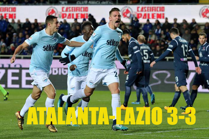 Lazio's midfielder Sergej Milinkovic-Savic celebretas after scoring the goal of 2-2 during the Italian Serie A soccer match between Atalanta and Lazio at Atleti Azurri s'Italia Stadium in bergamo, 17 December 2017. ANSA/PAOLO MAGNI